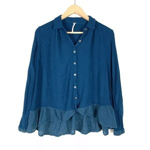 Free People Top Blouse Button Down Teal XS Swing